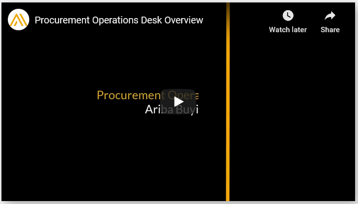 Procurement Operations Desk Overview